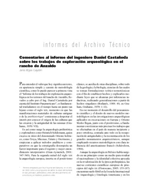 Comentarios al informe del ingeniero Daniel Castañeda sobre los trabajos de exploración arqueológica en el rancho de Anzaldo
