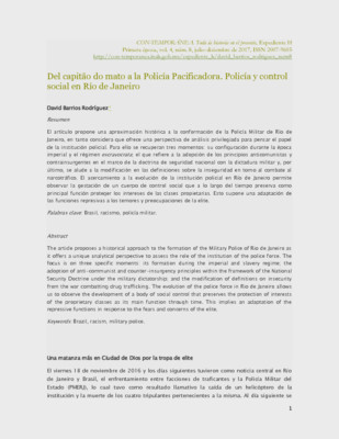 Del capitão do mato a la Policía Pacificadora. Policía y control social en Río de Janeiro