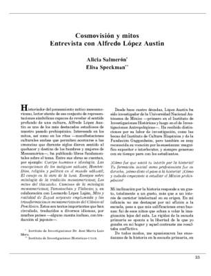 Cosmovisión y mitos. Entrevista con Alfredo López Austin
