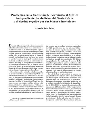 Problemas en la transición del Virreinato al México independiente: la abolición del Santo Oficio y el destino seguido por sus bienes e inversiones