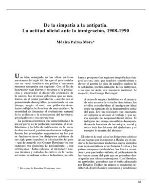 De la simpatía a la antipatía. La actitud oficial ante la inmigración, 1908-1990