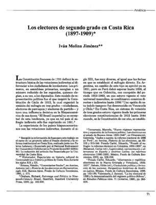 Los electores de segundo grado en Costa Rica (1897-1909)