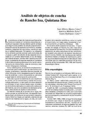 Análisis de objetos de concha de Rancho Ina, Quintana Roo