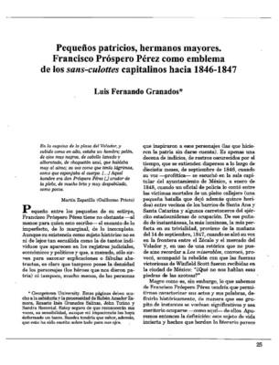 Pequeños patricios, hermanos mayores. Francisco Próspero Pérez como emblema de los sans-culottes capitalinos hacia 1846-1847