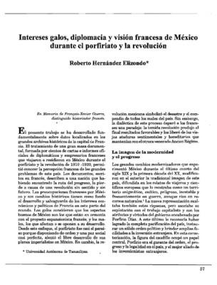 Intereses galos, diplomacia y visión francesa de México durante el porfiriato y la revolución