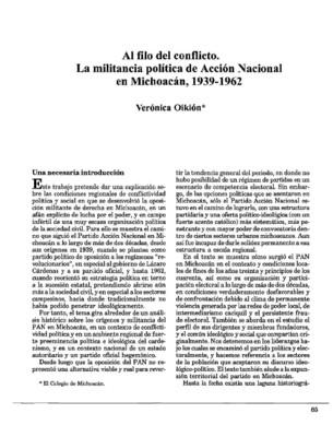 Al filo del conflicto. La militancia política de Acción Nacional en Michoacán, 1939-1962