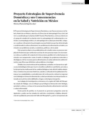 Proyecto Estrategias de Supervivencia Doméstica y sus Consecuencias en la Salud y Nutrición en México