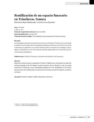 Reutilización de un espacio funerario en Trincheras, Sonora