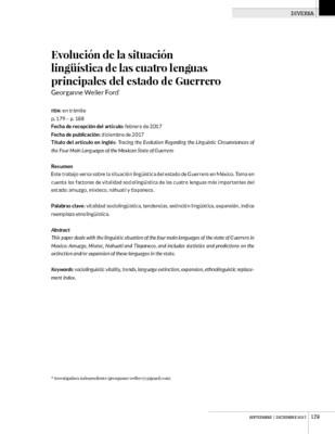 Evolución de la situación lingüística de las cuatro lenguas principales del estado de Guerrero