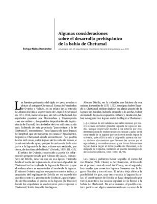 Algunas consideraciones sobre el desarrollo prehispánico de la bahía de Chetumal