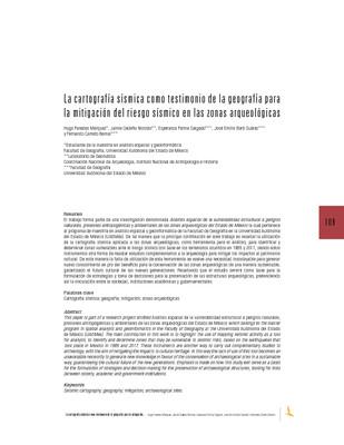 La cartografía sísmica como testimonio de la geografía para la mitigación del riesgo sísmico en las zonas arqueológicas