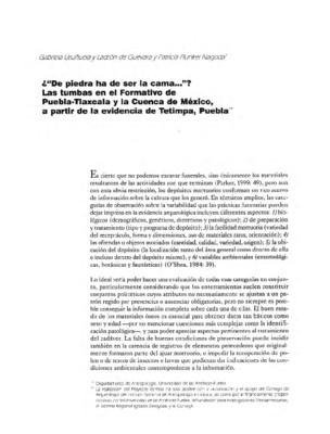 """¿""""De piedra ha de ser la cama...""""? Las tumbas en el Formativo de Puebla-Tlaxcala y la Cuenca de México, a partir de la evidencia de Tetimpa, Puebla."""