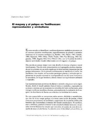 El Maguey y el pulque en Teotihuacan: representación y simbolismo