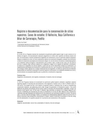 Registro y documentación para la conservación de sitios rupestres. Casos de estudio: El Vallecito, Baja California y Altar de Carreragco, Puebla