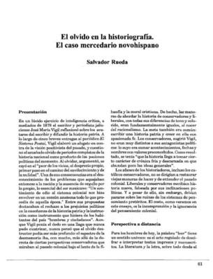 El olvido en la historiografía. El caso mercedario novohispano