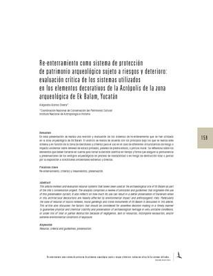 Re-enterramiento como sistema de protección de patrimonio arqueológico sujeto a riesgos y deterioro: evaluación crítica de los sistemas utilizados en los elementos decorativos de la Acrópolis de la zona arqueológica de Ek Balam, Yucatán
