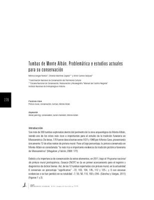 Tumbas de Monte Albán. Problemática y estudios actuales para su conservación