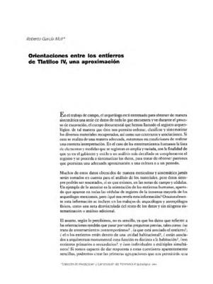 Orientaciones entre los entierros de Tlatilco IV, una aproximación