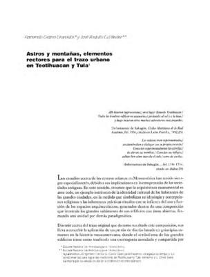 Astros y montañas, elementos rectores para el trazo urbano en Teotihuacan y Tula