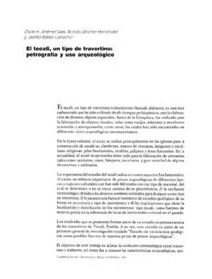 El tecali, un tipo de travertino: petrografía y uso arqueológico