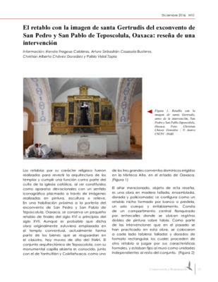 El retablo con la imagen de santa Gertrudis del exconvento de San Pedro y San Pablo de Teposcolula, Oaxaca: reseña de una intervención
