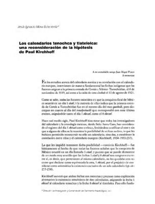Los calendarios tenochca y tlatelolca: una reconsideración de la hipótesis de Paul Kirchhoff