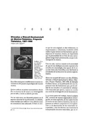 Ofrendas a Ehécatl-Quetzalcóatl ebn México-Tlatelolco. Proyecto Tlatelolco, 1987-1996