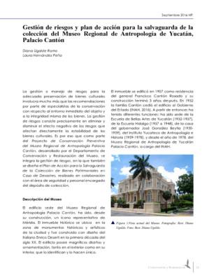 Gestión de riesgos y plan de acción para la salvaguarda de la colección del Museo Regional de Antropología de Yucatán, Palacio Cantón