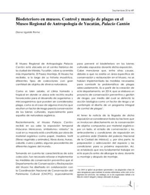 Biodeterioro en museos. Control y manejo de plagas en el Museo Regional de Antropología de Yucatán, Palacio Cantón