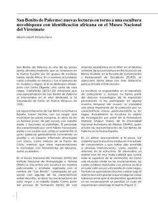 San Benito de Palermo: nuevas lecturas en torno a una escultura novohispana con identificación africana en el Museo Nacional del Virreinato