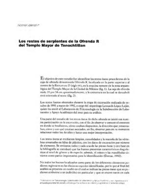 Los restos de serpientes de la ofrenda R del Templo Mayor de Tenochtitlan