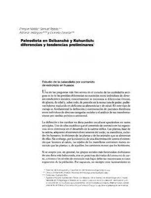 Paleodieta en Dzibanché y Kohunlich: diferencias y tendencias preliminares