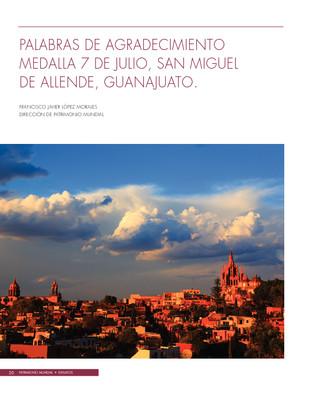 Palabras de agradecimiento Medalla 7 de julio, San Miguel de Allende, Guanajuato