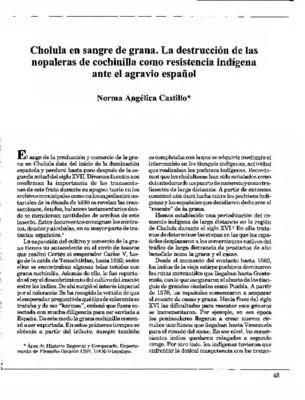 Cholula en sangre de grana. La destrucción de las nopaleras de cochinilla como resistencia indígena ante el agravio español