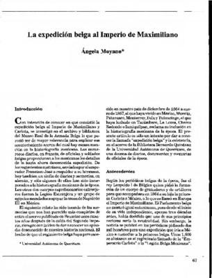 La expedición belga al Imperio de Maximiliano