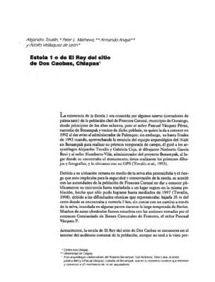 Estela 1 o de El Rey del sitio de Dos Caobas, Chiapas