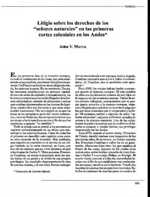 """Litigio sobre los derechos de los """"señores naturales"""" en las primeras cortes coloniales en los Andes"""
