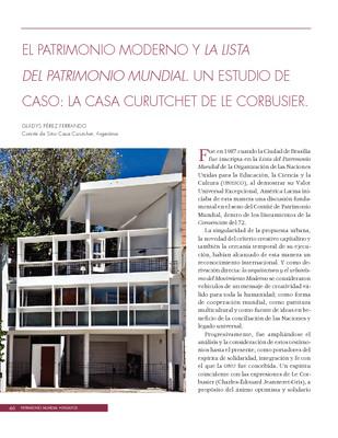 El Patrimonio Moderno y la lista del Patrimonio Mundial. Un estudio de caso: La Casa Curutchet de le Corbusier