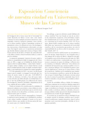 Exposición Conciencia de nuestra ciudad en Universum, Museo de Ciencias