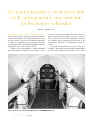 El mantenimiento y su repercusión en la salvaguarda y conservación de los bienes culturales