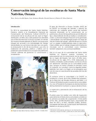 Conservación integral de las esculturas de Santa María Nativitas, Oaxaca