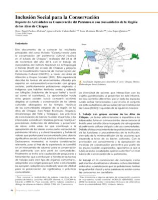 Inclusión Social para la Conservación. Reporte de Actividades en Conservación del Patrimonio con comunidades de la Región de los Altos de Chiapas