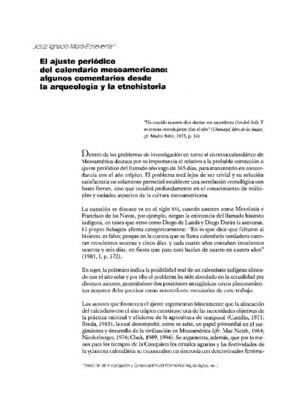 El ajuste periódico del calendario mesoamericano: algunos comentarios desde la arqueología y la etnohistoria