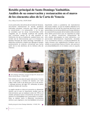 Retablo principal de Santo Domingo Yanhuitlán. Análisis de su conservación y restauración en el marco de los cincuenta años de la Carta de Venecia