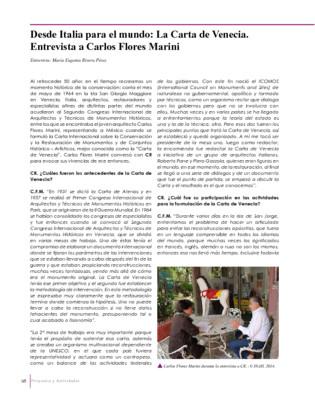 Desde Italia para el mundo: La Carta de Venecia. Entrevista a Carlos Flores Marini