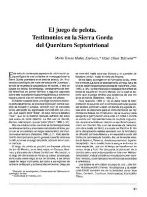 El juego de pelota. testimonios en la Sierra Gorda del Querétaro Septentrional