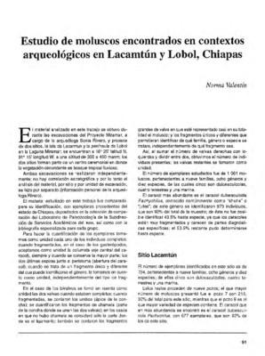 Estudio de moluscos encontrados en contextos arqueológicos en Lacamtún y Lobol, Chiapas