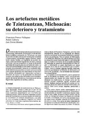 Los artefactos metálicos de Tzintzuntzan, Michoacán: su deterioro y tratamiento