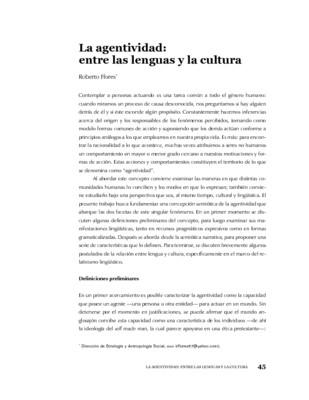 La agentividad: entre las lenguas y la cultura