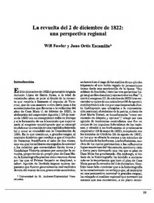 La revuelta del 2 de diciembre de 1822: una perspectiva regional